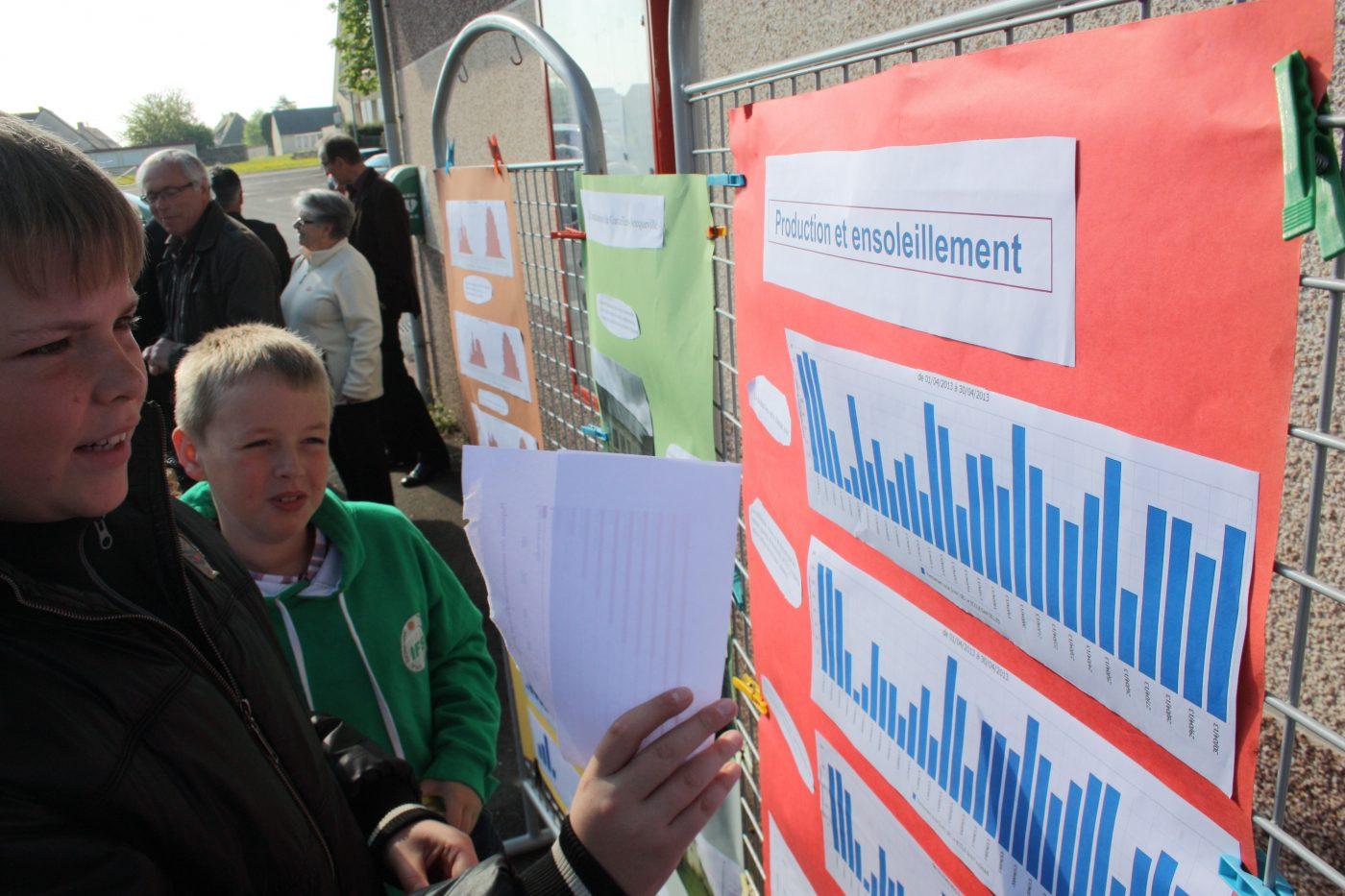Les élèves de l'école de Bourguébus présentent la production des toitures solaires