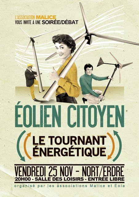 Affiche pour une reunion publique du projet citoyen Eolandes