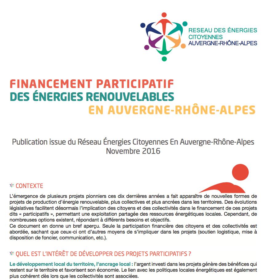 Le financement participatif des énergies renouvelables en Auvergne-Rhône-Alpes