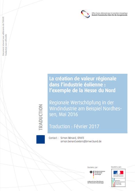 La création de valeur régionale dans l'industrie éolienne : l'exemple de la Hesse du Nord