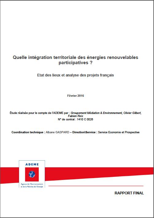 Quelle intégration territoriale des énergies renouvelables participatives ? Etat des lieux et analyse des projets français