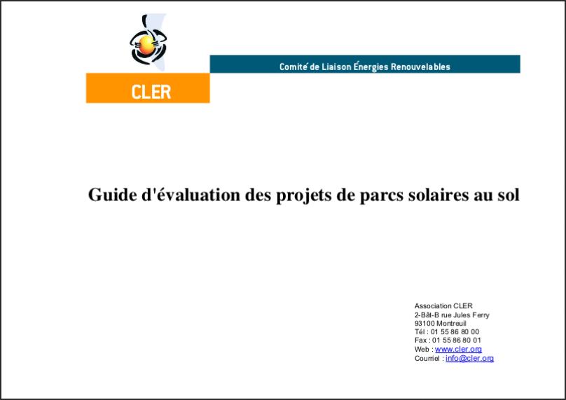Guide d'évaluation des projets de parcs solaires au sol