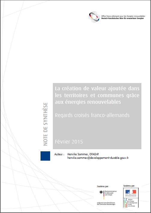 La création de valeur ajoutée dans les territoires et communes grâce aux énergies renouvelables - Regards croisés franco-allemands