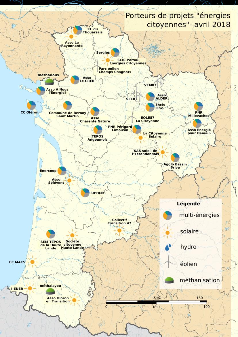 Carte des projets citoyens d'energie renouvelable accompagnés par le réseau CIRENA Nouvelle Aquitaine