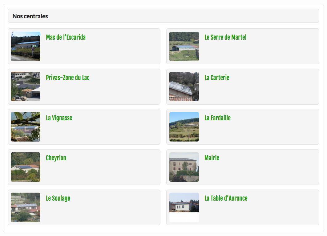 Capture d'écran : liste des centrales d'Aurance Énergies en mars 2018
