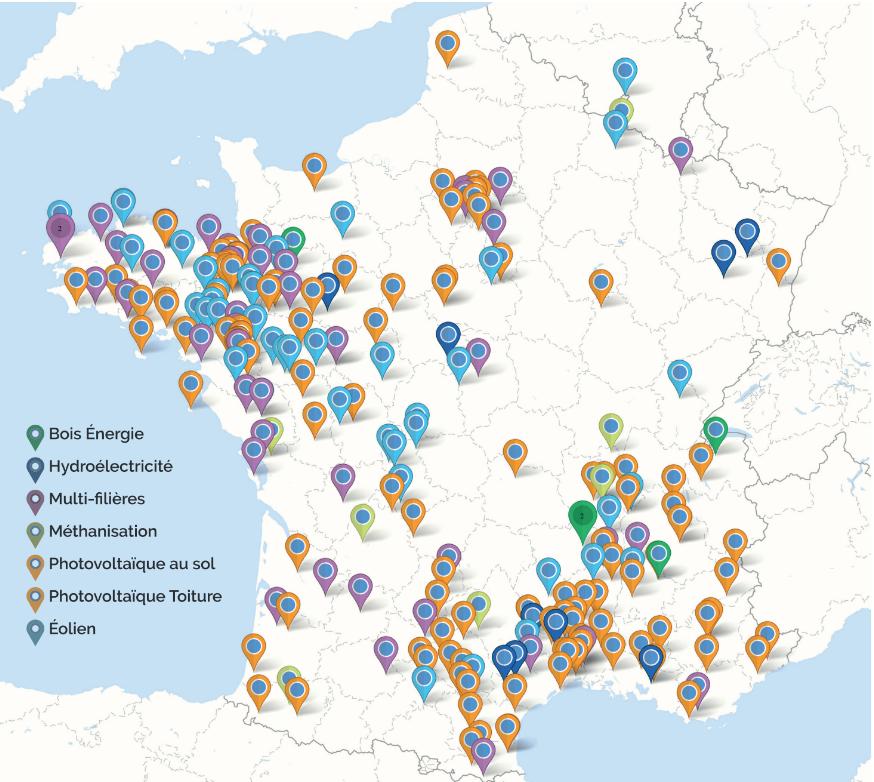 Cartes des projets citoyens de production d'énergie renouvelables (mai 2018)