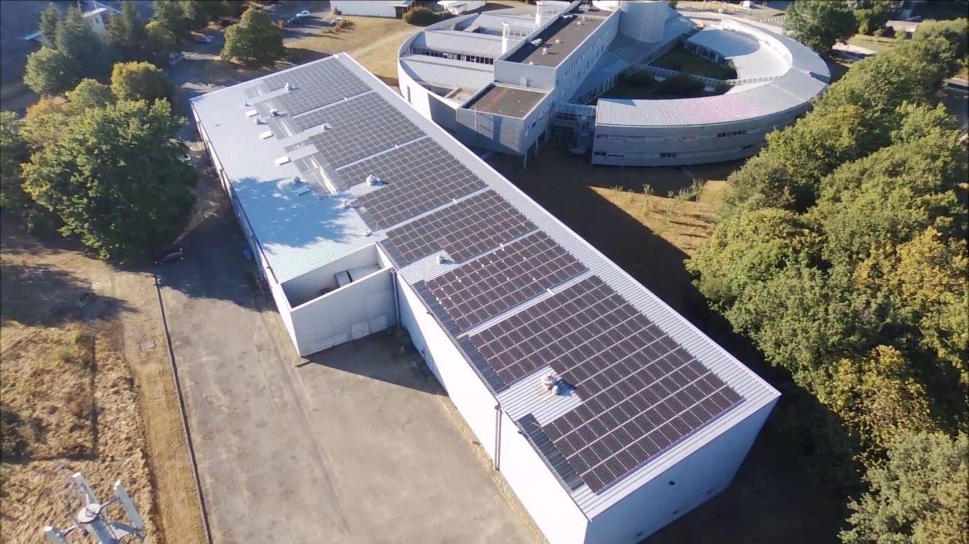 Centrale photovoltaïque EnR Chantrerie co-financée par Energie Partagée, sur le campus Polytech à Nantes
