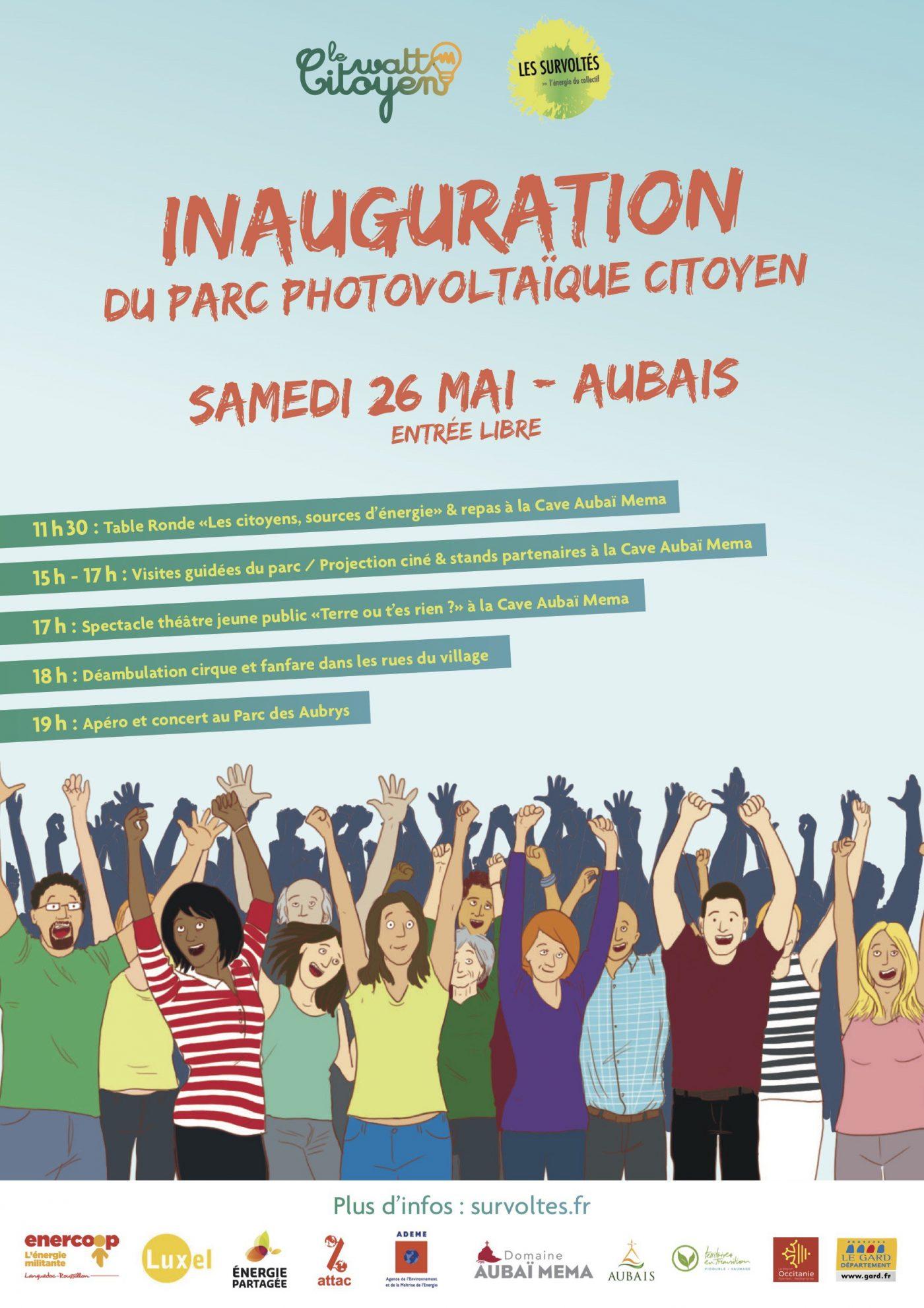 Affiche : inauguration du parc photovoltaïque des Survoltés le 26 mai 2018 à Aubais