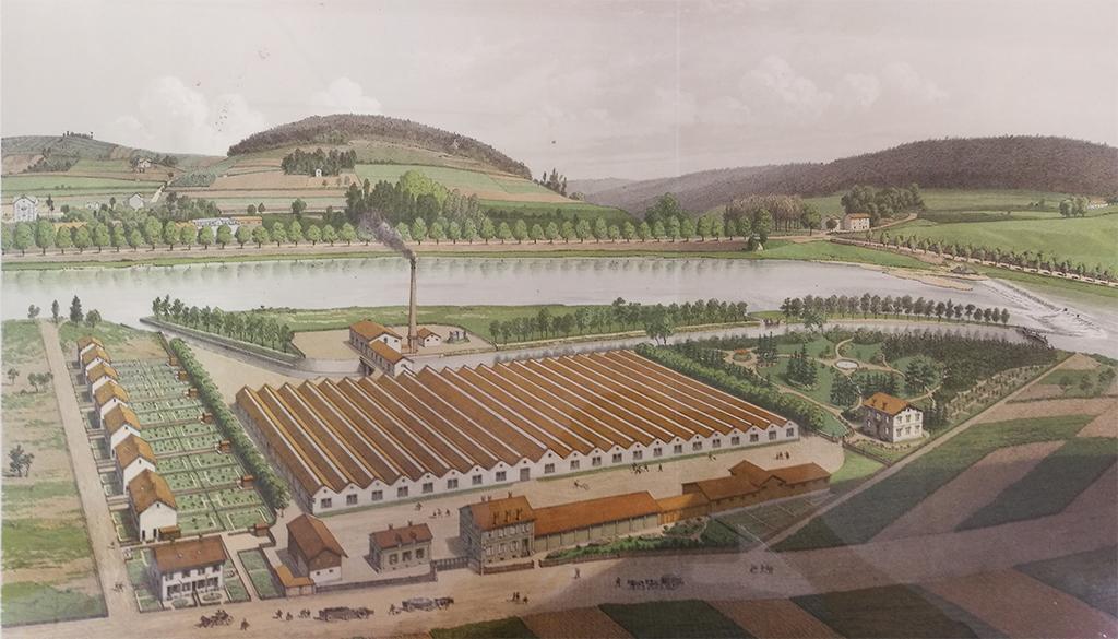 HydroEpinal - Vue du site en 1880, filatures David & Maigret