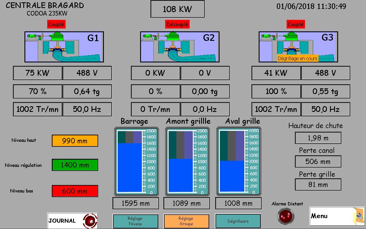 Écran de l'automate de commande des turbines d'HydroÉpinal