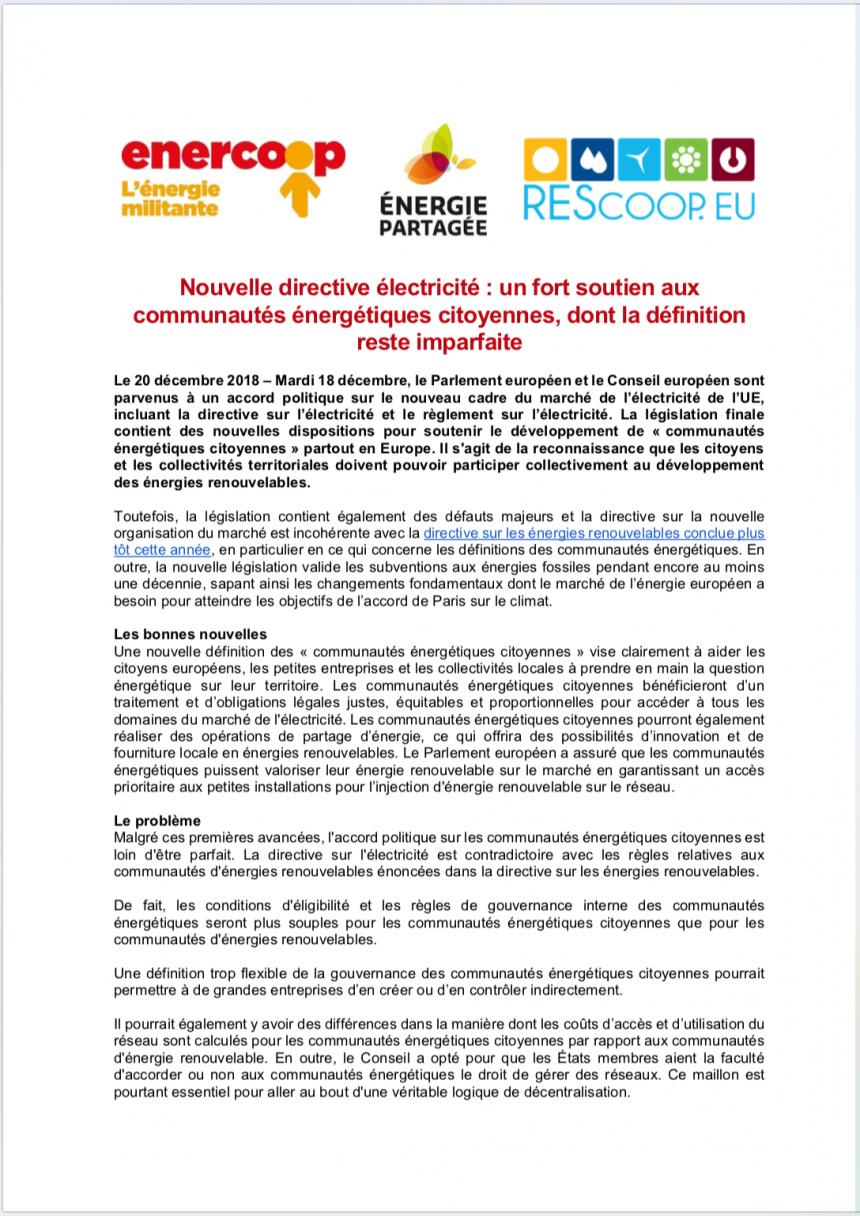 Nouvelle directive électricité : un fort soutien aux communautés énergétiques citoyennes, dont la définition reste imparfaite
