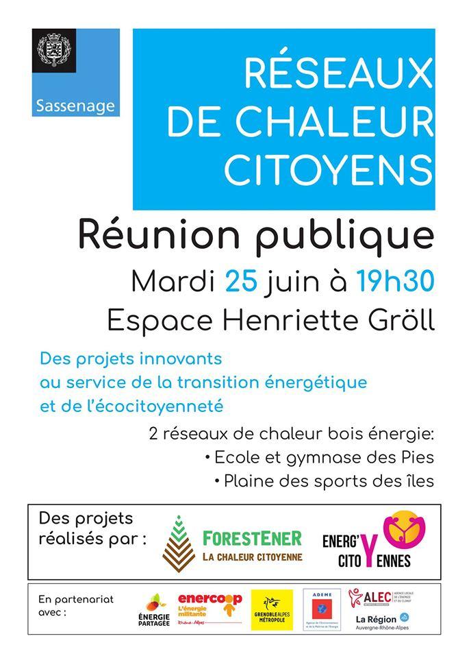 Projets de chaleur citoyens, réunion publique à Sassenage, avec ForestEner